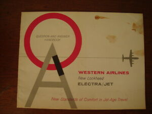 1960'S WESTERN AIR LINES LOCKHEED ELECTRA JET AIRCRAFT Q & A HANDBOOK BROCHURE