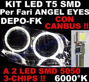 10 LED T5 SMD BIANCHI 6000°K fari ANGEL EYES CANBUS 12V