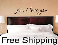 PS I LOVE YOU wall vinyl sticker home decor inspirational art romantic quotes!!!
