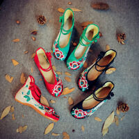 Chinese Knot Hibiscus Ladies Women Embroidery Ankle Frog Comfort Flat Shoes Size