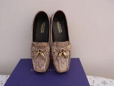 Stuart Weitzman brown shiny snake loafers sz 8 US / 38.5 EU / 5.5 UK boxed