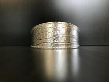 S/M Leather Dog Collar LINED Greyhound Whippet Saluki SILVER REPTILE PATTERN