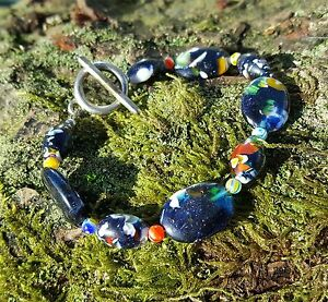 Genuine Murano Glass Bead Bracelet Blue Sparkle Tribal/Ethnic/Chic Style Small