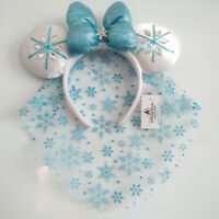 Disney Park Blue Minnie Mouse Ears Elsa Snowflake Crystal Headband