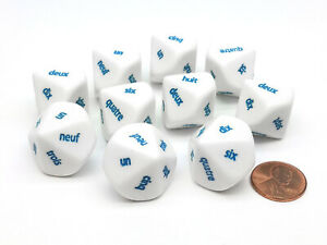 Pack of 10 D10 French Word Number Dice, 1 to 10 - White with Blue Words