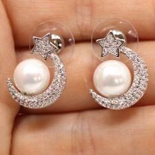 Round White Akoya Pearl Diamond Moon Star Earrings Women 925 Sterling Silver