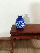 Dollhouse Miniature Large Blue & White Decorative Vase or Urn 1:12 Scale