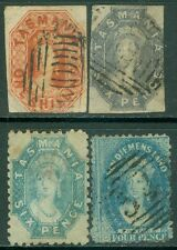 TASMANIA : 1858-68. Stanley Gibbons #41, 46, 65, 85 Fine, Used. Catalog £310.00.