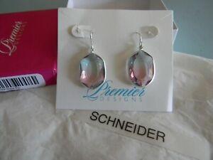 Premier Designs GRACE BAY silver pink blue ombre earrings RV $29 free ship nwt