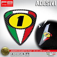 Adesivi Stickers Italy Italia Scudetto Carbonio Numero 1 Agostini MV Honda Ktm