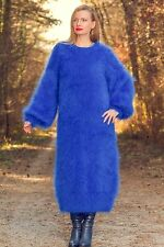 Blue hand knitted fuzzy mohair sweater dress long slouchy SUPERTANYA SALE