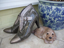 BALTARINI PEWTER LEATHER ANKLE BOOTS GREY PATENT LEATHER SHOE BOOTS ~ 7 / 40