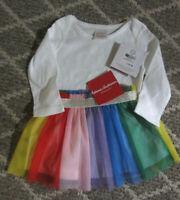 HANNA ANDERSSON Girl's Rainbow Tulle Skirt White Bodysuit 60 3-6 Mos New