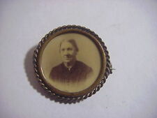 Mourning Photo Pin Brooch Antique Victorian Edwardian Gold