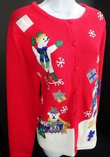 Large Holiday Cardigan Sweater Button Front Christmas Polar Bear Ice Skate