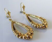 9ct Gold Earrings - 9ct Gold Hollow Ribbed Hooped Drop Dangle Earrings