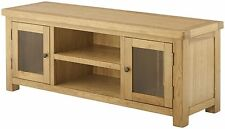 Solid Chunky Rustic Oak Large TV LCD Plasma Cabinet Stand Unit | Oxford Range