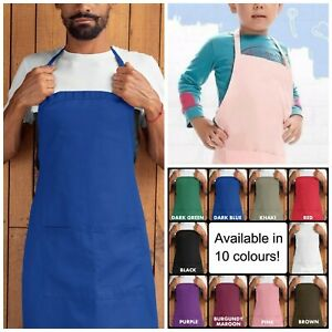 New Plain Adult or Kids Children's Apron for Cooking or Baking with Pocket