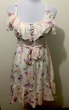 Ladies BARDOT Fully Lined Floral Silk Dress. Size 8-10