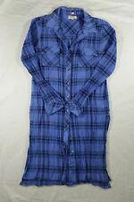 Cupio Women's Medium Button Front Tunic Side Slits Blue Plaid