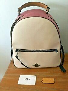 COACH Colorblock Pink & Chalk JORDYN Leather BACKPACK