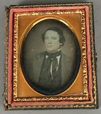 1/9 Plate Daguerreotype Of Gent With Long Scarf, Old Paper Seals, Half Case