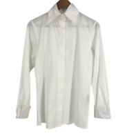 P. Taylor Womens Lagenlook Art to Wear Shirt Button Up Blouse Top White XS Small