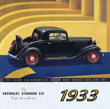 1933 Chevrolet Standard Six Coupe, Rumble Seat, BLACK, Refrigerator Magnet