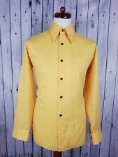 "Vtg 1970s Yellow Long Sleeve Dagger Collar Polycotton Shirt -16""/L- HJ82"