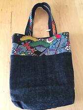 Handmade Japanese Kimono Reversible Tote Bag - BLACK