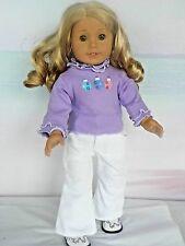 """Christmas Morning Top & White Velvet Pants fits Caroline, Kit, Molly, 18"""" Dolls"""