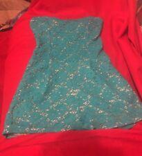 Romper Lace Medium Turquoise Strapless Janice BoyShorts USA Lined Play suit