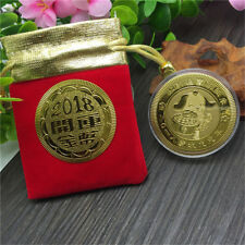 Year of the Dog Plated Gold Souvenir Coin Medal Tourism Gift Lucky Character HK