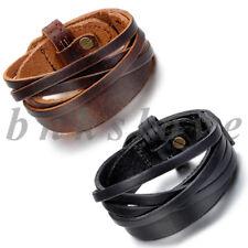 2pcs Men's Punk Rock Multi-layer Twisted Leather Bracelet Bangle Cuff Adjustable