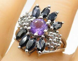 925 Silver - Sapphire Amethyst & Topaz Split Band Cluster Ring Sz 7 - R7596