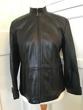 Marks & Spencer Ladies Black Leather Biker Jacket Size 14