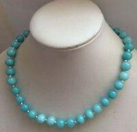 "10mm Natural Amazonite Gemstone Round Beads Necklace 18""JN26"
