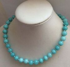 "10mm Natural Amazonite Gemstone Round Beads Necklace 18""JN26"