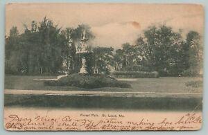 St Louis Missouri~Forest Park Fountain~Vintage Postcard
