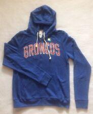 Men's Junkfood Denver Broncos SIZE MEDIUM Graphic Zip Hoodie Blue Orange Pockets