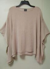Women's Travelers Scoop Neck Slit Sleeve Short Poncho Top Sz S/M