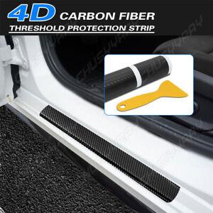4x Car Accessories Decal Sticker Carbon Fiber Vinyl Door Sill Trim Scuff Plate