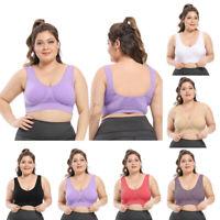 Plus Size Women Shockproof Breathable Wireless Push-up Vest Bra Sports Underwear