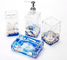 Bathroom Vanity Set Soap Dispenser Dish Tumbler Beach Nautical Decor 4 Pc New