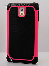 For Samsung Galaxy Note III 3 black hot pink soft hard case 3 layer % heavy duty