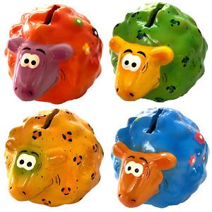 4er Set Spardosen Schaf Tiere Bunt Gelb Orange Blau Grün Kinder Unisex Keramik