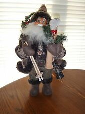 "Santa Claus Figure in Glasses with Christmas Tree Wooden Skis Oil Lamp 12.5"" (H)"