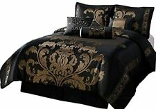 Chezmoi Collection 7-Piece Jacquard Floral Comforter Set Bed-in-a-Bag, Californi