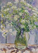 ORIGINAL SOVIET UKRAINIAN OIL PAINTING FLOWERS VINTAGE ARTWORK FLORAL STILL LIFE