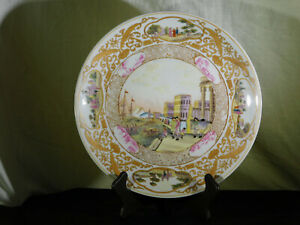 """RARE"" Chinese Qing Dy Hand Painted Famille Rose Scenic Porcelain Plate"
